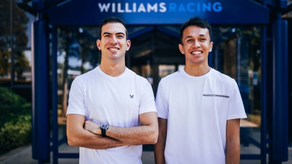 Nicholas Latifi and Alex Albon of Williams Racing