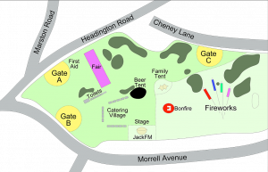 map of fireworks at South Park Oxford